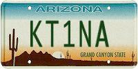KT1NA AZ license plate