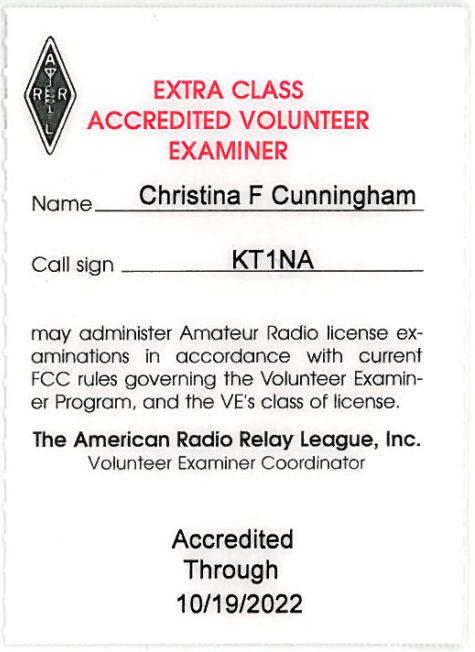Christina's ARRL Accredited Volunteer Examiner badge