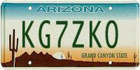 KG7ZKO AZ license plate