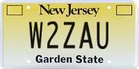 W2ZAU NJ license plate